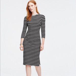 Ann Taylor Striped 3/4 Sleeve Midi Dress Career